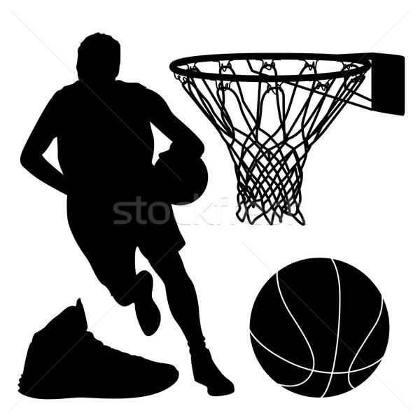 баскетбол силуэта набор корзины мяча обуви Сток-фото © artag