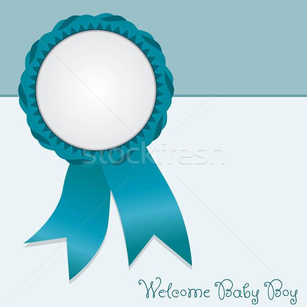 Tebrik kartı karşılama bebek erkek vektör doğum Stok fotoğraf © artag