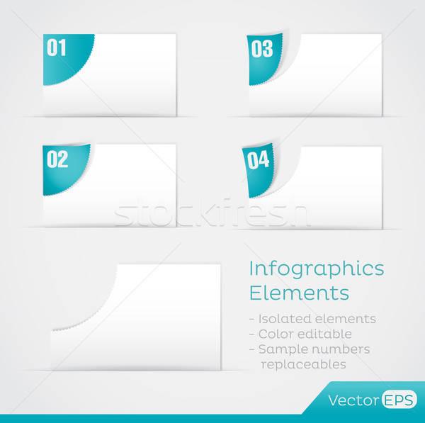 Kâğıt elemanları infographics yalıtılmış düzenlenebilir Stok fotoğraf © artag