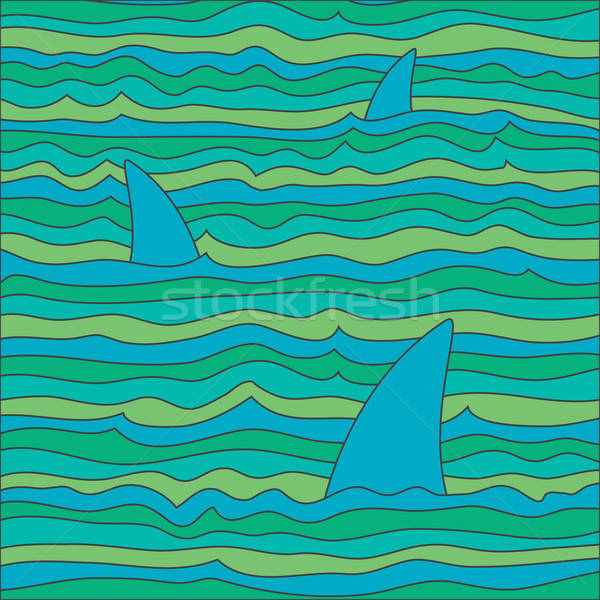 Colored waves and sharks / Vector Background Stock photo © artag