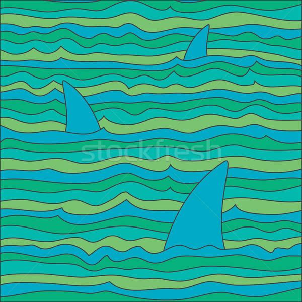 Renkli dalgalar köpekbalıkları vektör balık mutlu Stok fotoğraf © artag