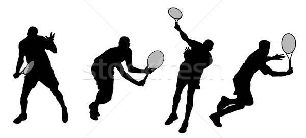 Tenis siluetleri vektör kız spor Stok fotoğraf © artag