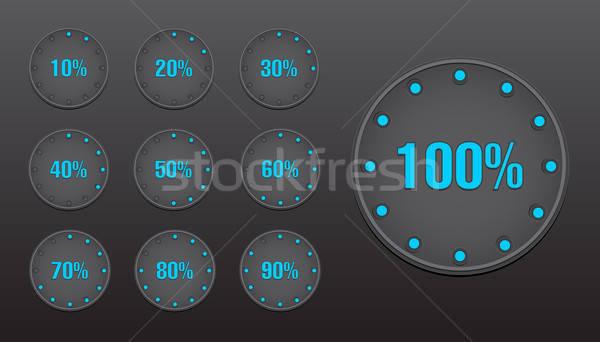 Yüzde daire düğmeler web elemanları ayarlamak Stok fotoğraf © artag