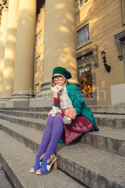моде выстрел девушки кампус улице Сток-фото © artfotodima