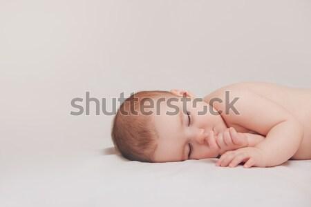 Adormecido menino pacífico recém-nascido bebê Foto stock © artfotodima