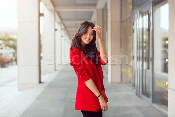 Gyönyörű fiatal ázsiai nő kint boldog Stock fotó © artfotodima