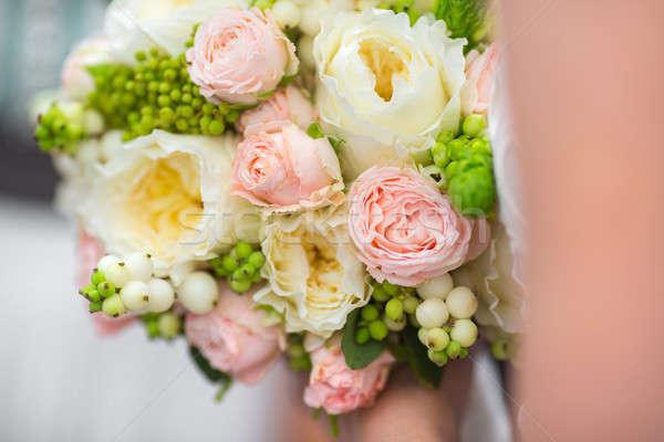 Ramo de la boda novia cariñoso rosa blanco Foto stock © artfotodima