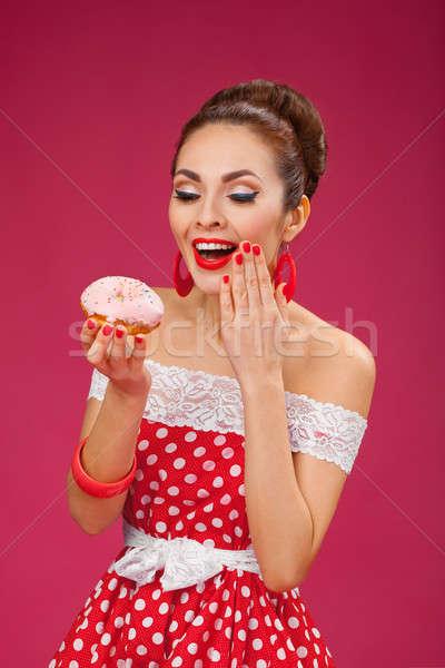 幸せ 女性 ピンク ドーナツ ピンナップ ストックフォト © artfotodima