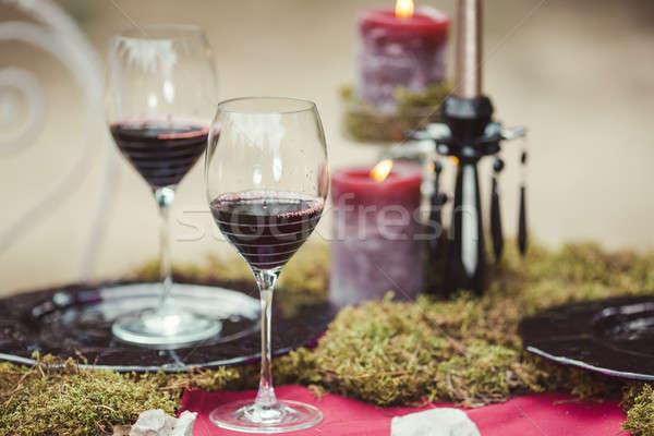 Wedding table setting in rustic style. Stock photo © artfotodima