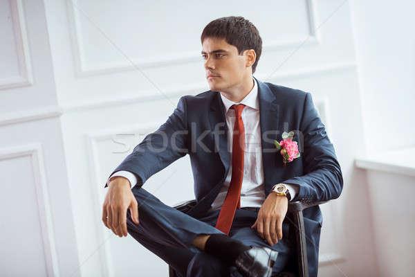 Bruidegom alleen prachtig ernstig knappe man Stockfoto © artfotodima