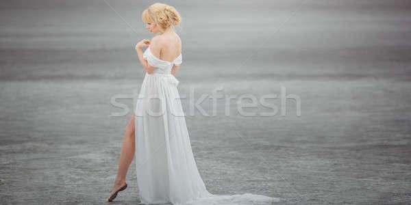 Belo noiva ao ar livre deserto lago bela mulher Foto stock © artfotodima