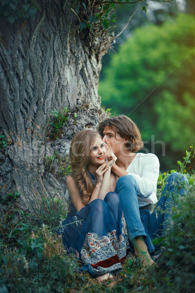 Liefde outdoor vergadering magisch bos Stockfoto © artfotodima