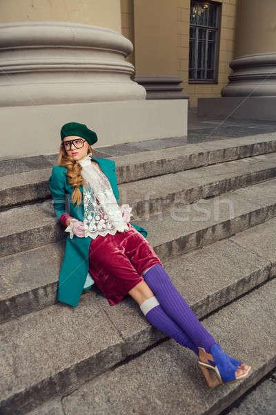 Fashion shot of college student girl at campus outdoors Stock photo © artfotodima