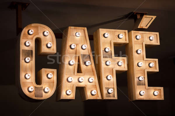 Eski ahşap kafe imzalamak işaretleri İspanya Stok fotoğraf © artfotodima