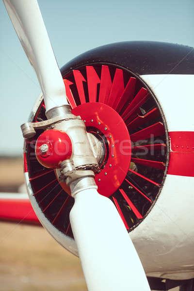 Repülőgép propeller közelkép kint sport piros Stock fotó © artfotodima