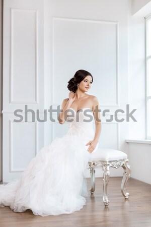 Bride beauty. Wedding hairstyle make-up luxury fashion dress concept Stock photo © artfotodima