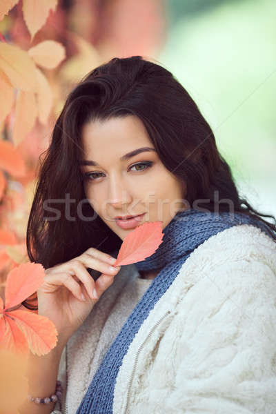 ősz lány város park kint szépség Stock fotó © artfotodima