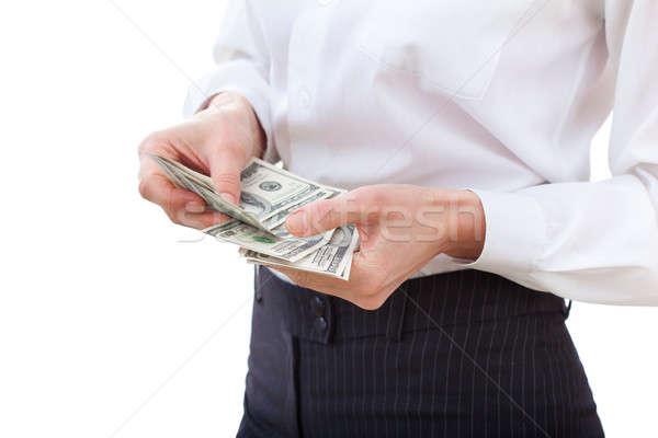 Woman recounts dollars, close up Stock photo © artfotodima