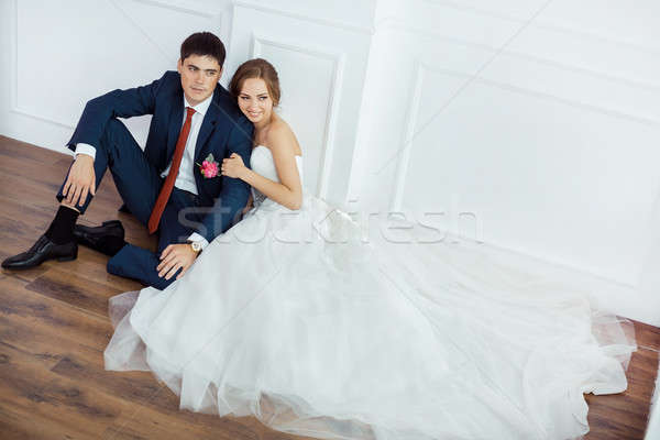 Noiva noivo brilhante quarto casamento casal Foto stock © artfotodima