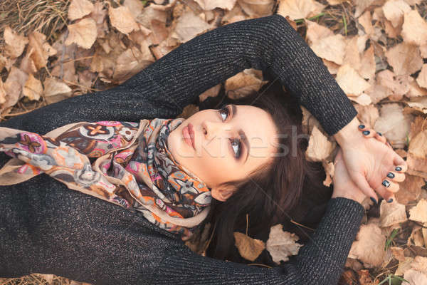 紅葉 秋 少女 演奏 ストックフォト © artfotodima