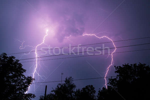 Thunderbolt over the house and dark stormy sky on the background Stock photo © artfotodima