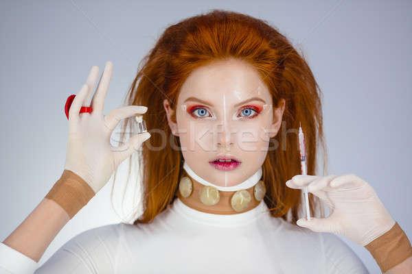 Foto stock: Cirurgia · plástica · bela · mulher · operação · beleza · retrato · moda