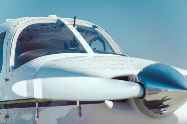 Repülőgép propeller közelkép kint üzlet fehér Stock fotó © artfotodima
