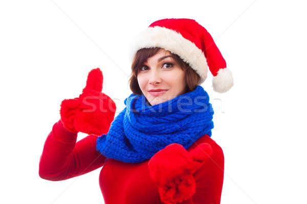 Gelukkig winter meisje Rood hoed wanten Stockfoto © artfotodima
