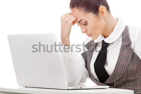 Woman hiding what she doing on laptop Stock photo © artfotodima