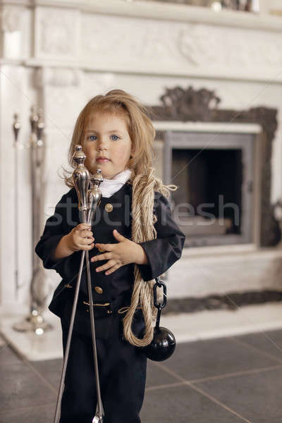 Kémény játékos lány kandalló szerencsés új Stock fotó © artfotodima