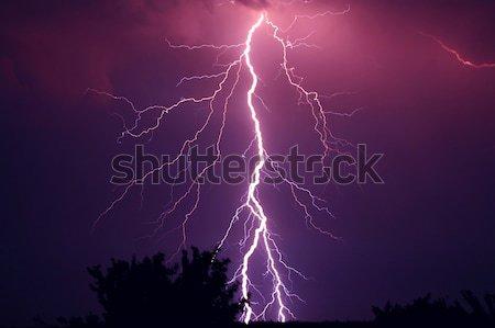Summer storm with thunder, lightnings and rain. Stock photo © artfotodima