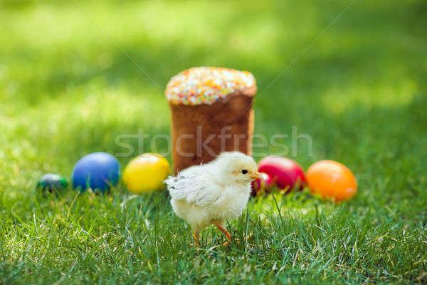 Chiken Fresh Easter cake with colorful decorative eggs Stock photo © artfotodima