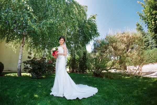 Gyönyörű menyasszony természet esküvői ruha kint park Stock fotó © artfotodima