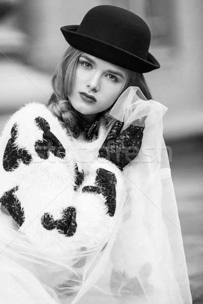 Stylish Retro Lady Portrait New Look. Accessories Hat and Gloves Stock photo © artfotodima