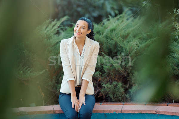 Retrato asiático mulher mulher sorrindo feliz belo Foto stock © artfotodima