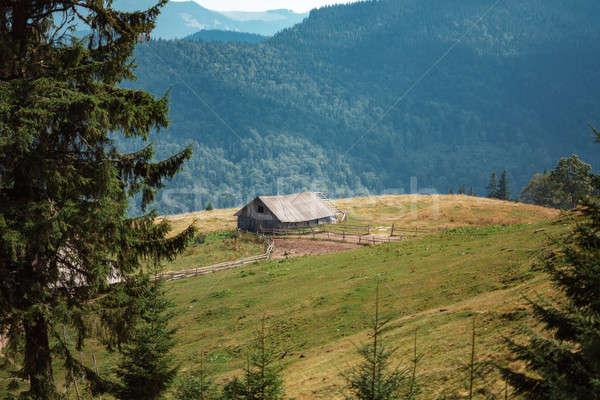 Velho casa montanhas fazenda céu floresta Foto stock © artfotodima