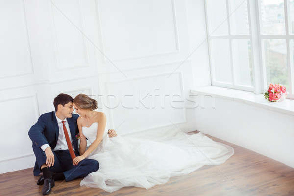 Bride and groom in very bright room Stock photo © artfotodima
