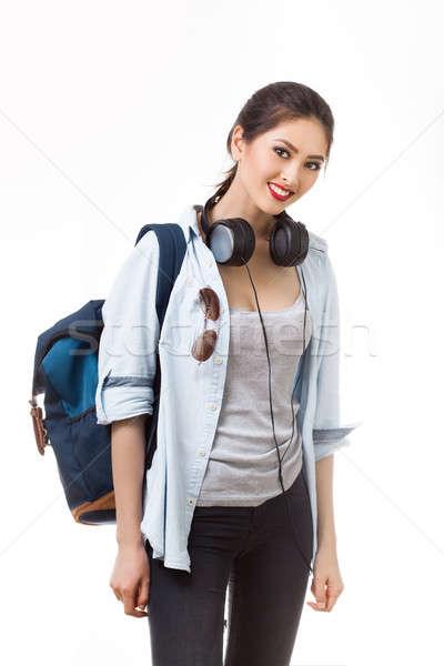 University student isolated on white background. Young woman Asian Caucasian students Stock photo © artfotodima