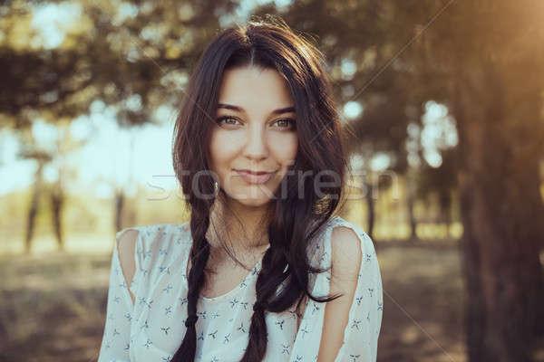 ストックフォト: 幸せ · 女性 · 森林 · 自然 · 少女