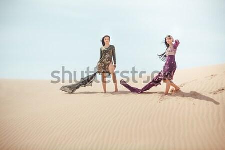 путешествия два женщины пустыне Сток-фото © artfotodima