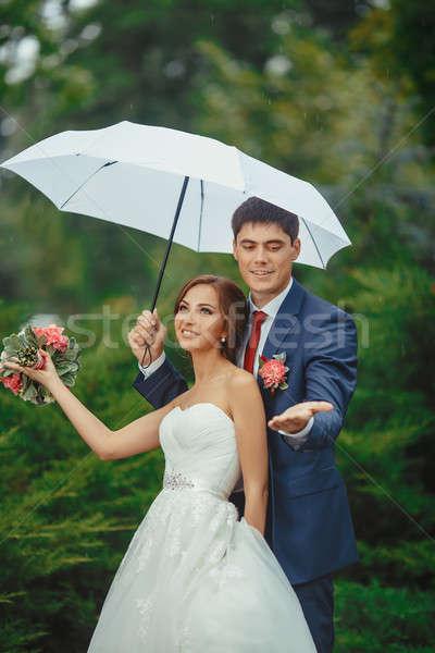 Gelukkig bruid bruidegom bruiloft lopen witte Stockfoto © artfotodima
