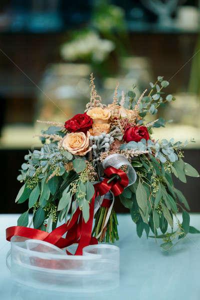 красивой букет свежие цветы свадьба Сток-фото © artfotodima