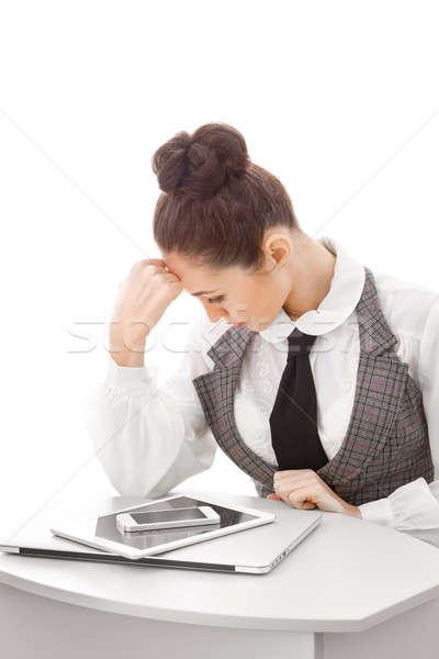 Woman with many gadgets Stock photo © artfotodima