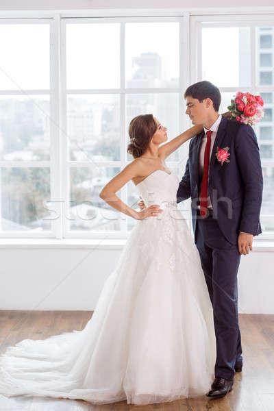 Stockfoto: Bruid · bruidegom · heldere · kamer · bruiloft · paar