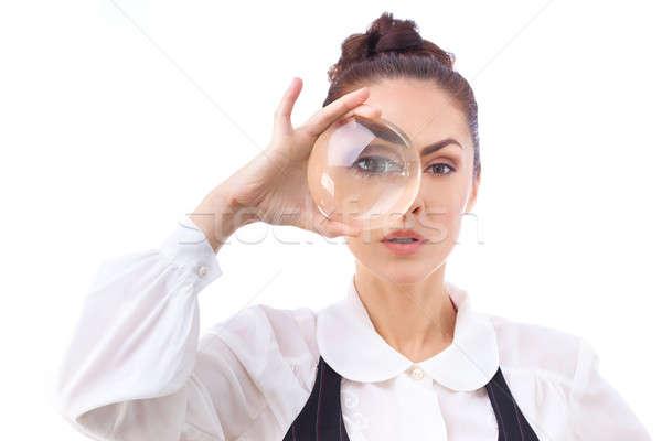Stockfoto: Alle · geïsoleerd · witte · vrouw · naar · vergrootglas