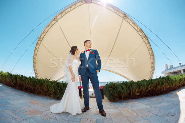 Fiatal esküvő pár áll kint élvezi Stock fotó © artfotodima