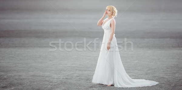 Beautiful bride outdoors in a desert. Stock photo © artfotodima