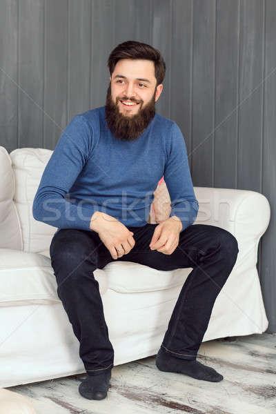 Homem relaxante quarto retrato Foto stock © artfotodima