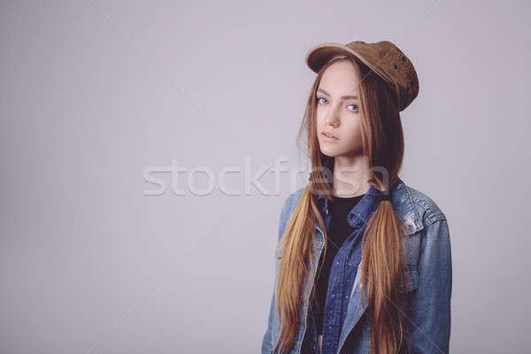 Closeup fashion studio portrait of hipster young tender girl Stock photo © artfotodima