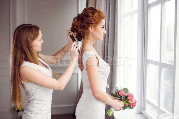 Bride's hairstyle preparation Stock photo © artfotodima